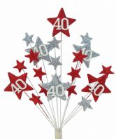 Star age 40th birthday cake topper decoration in red and silver - free postage